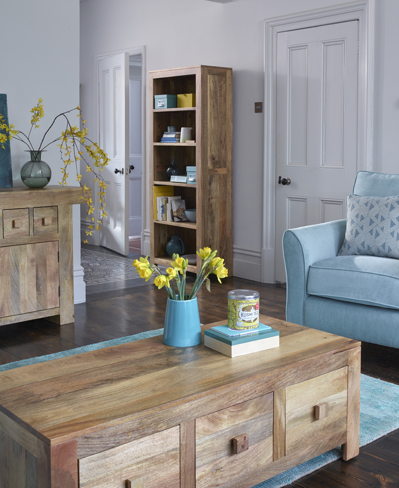 Mantis living room furniture with blue chair