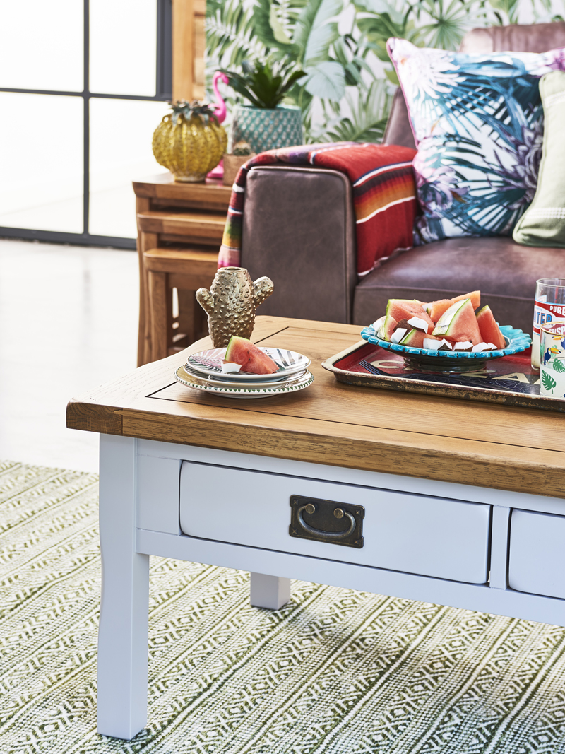 Grey painted coffee table and rustic accessories