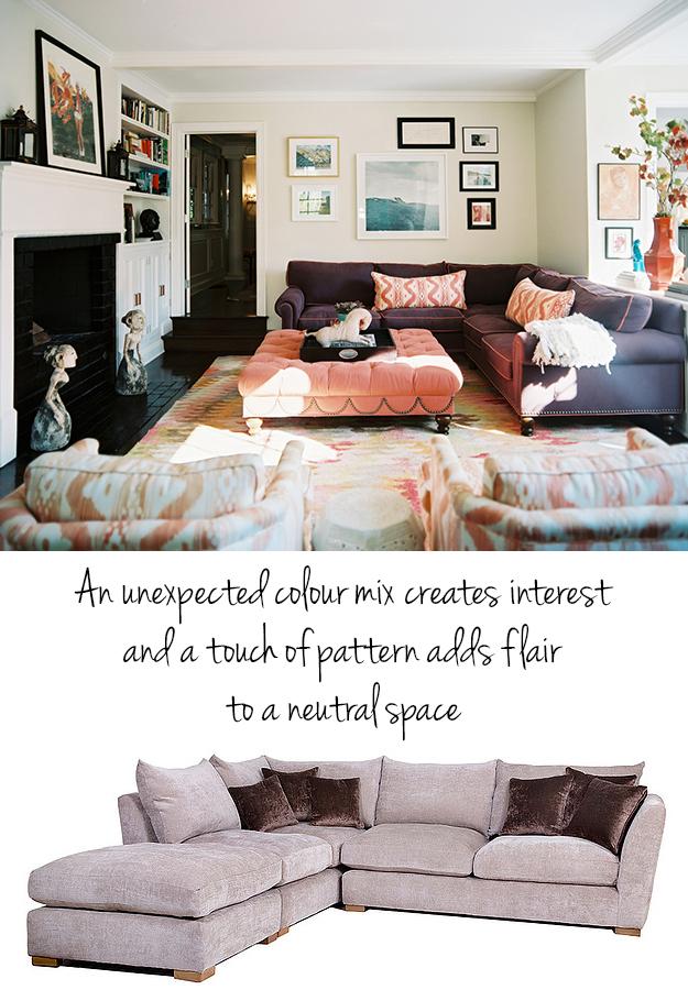 Corner sofa in mink