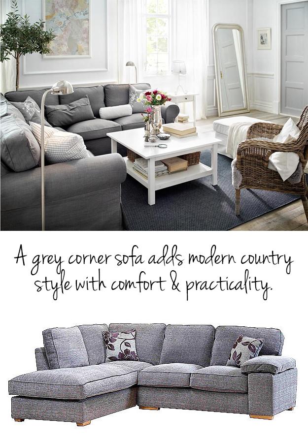 Pale grey corner sofa