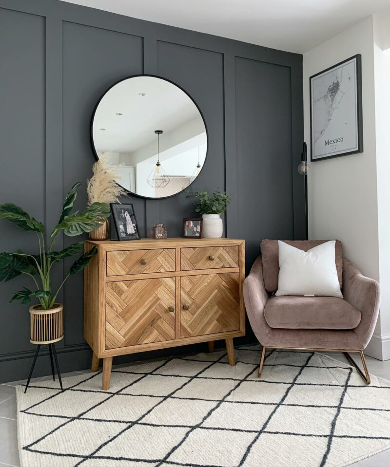 Navy blue feature wall living room