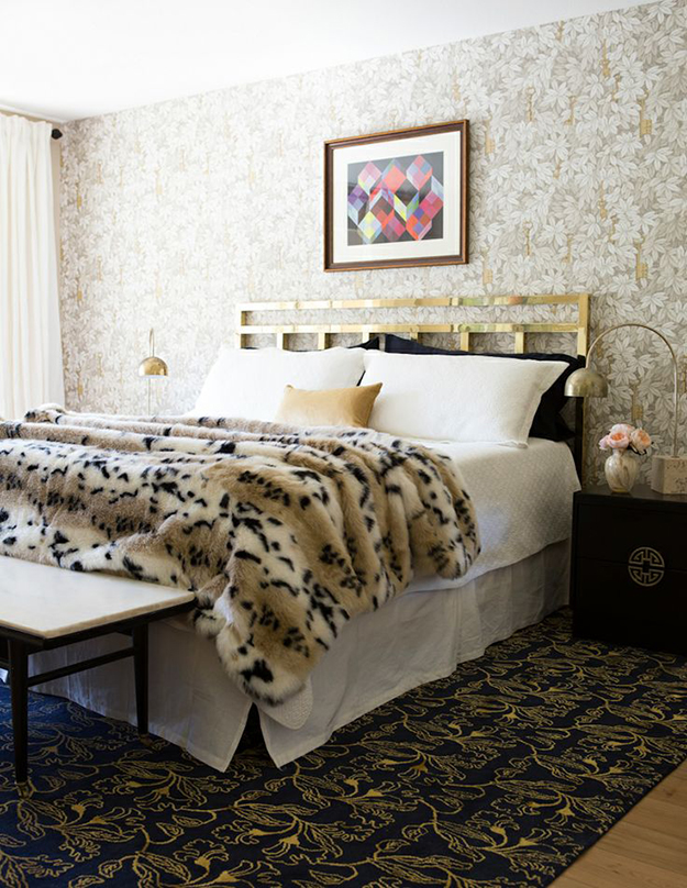 eclectic bedroom with faux throw