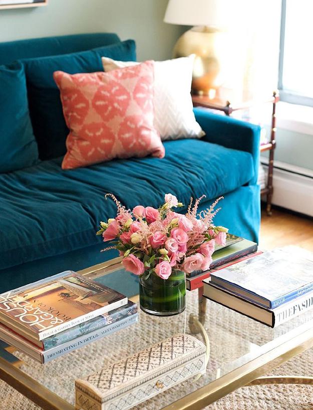 teal sofa in velvet