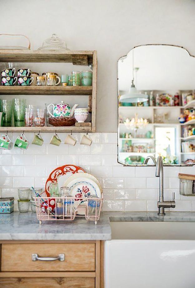 vintage mirror in kitchen