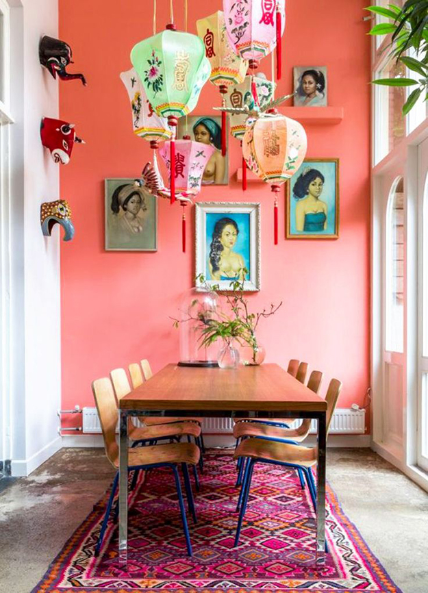 bold colour oriental influence dining room