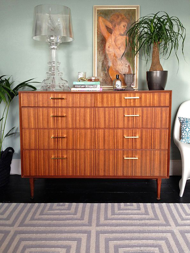 vintage sideboard with brass handles