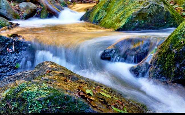 beautiful waterfall through nature