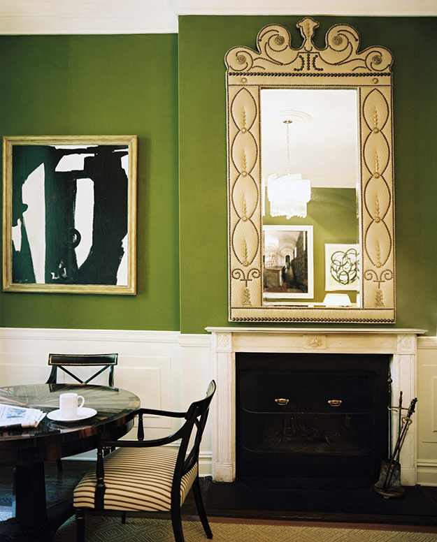 dark green dining room