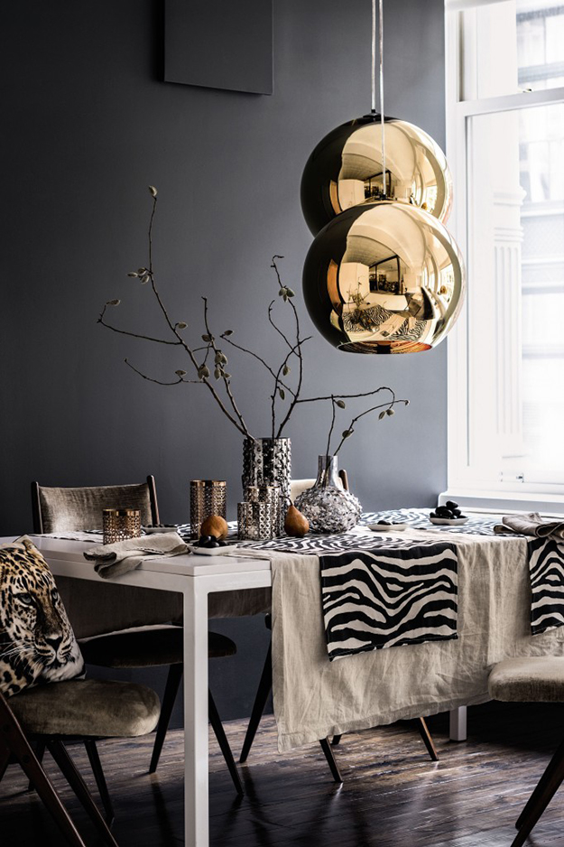 dark grey walls dining room