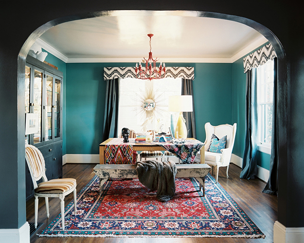 dark teal dining room