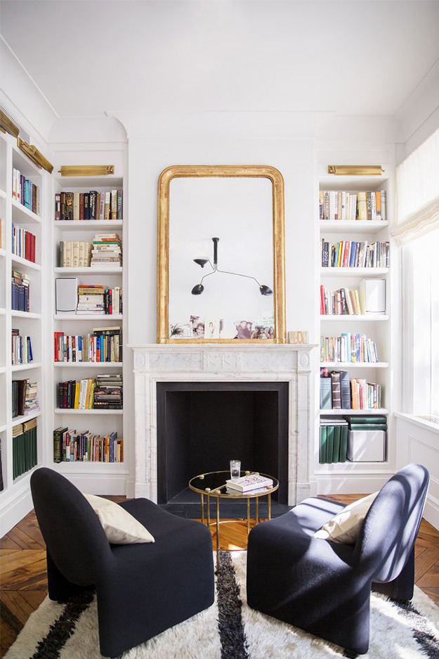 Narrow Shelving In Alcoves Of Fireplace