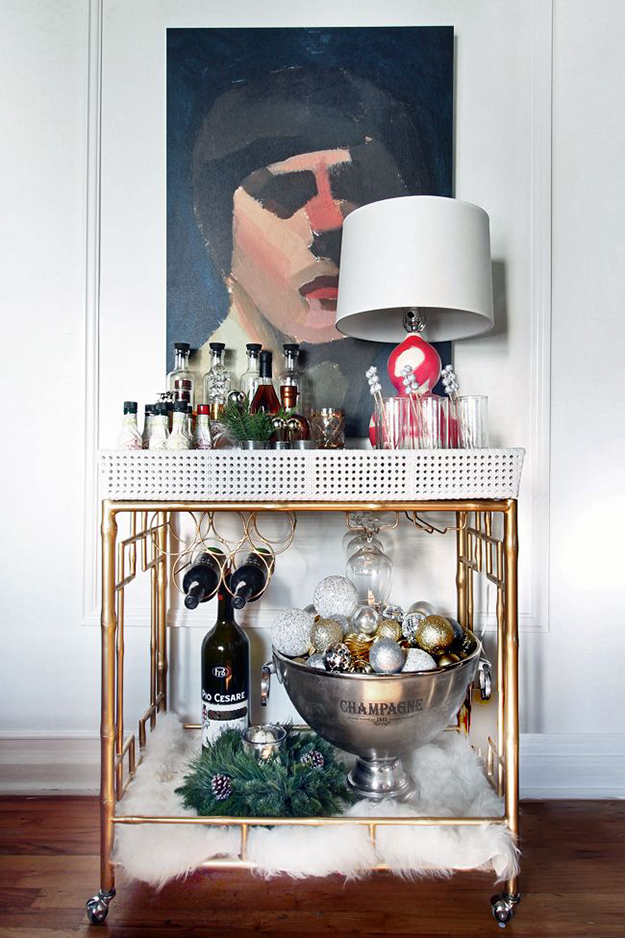 Christmas bar cart with faux fur