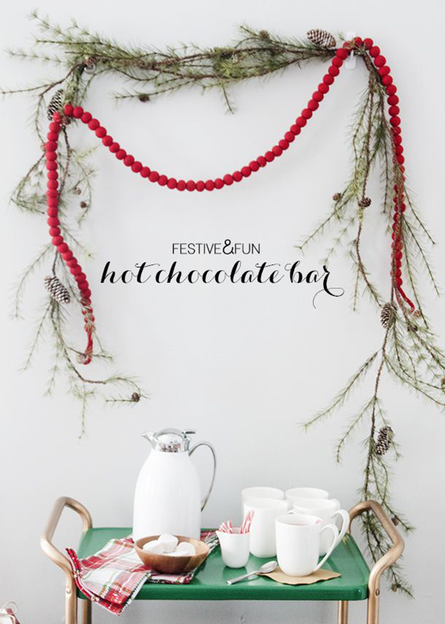 Christmas hot chocolate bar cart