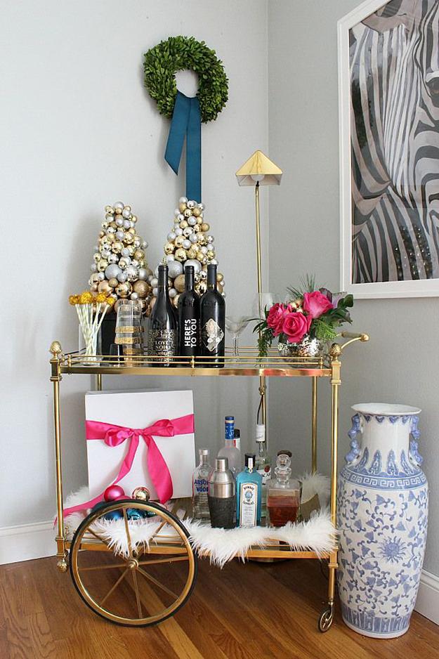 Glamorous Christmas bar cart
