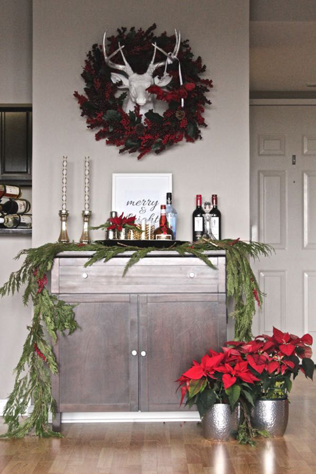 Traditional Christmas bar cart decr