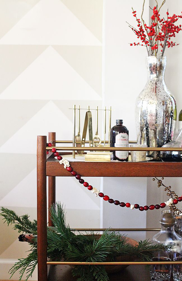 berry garland christmas bar cart