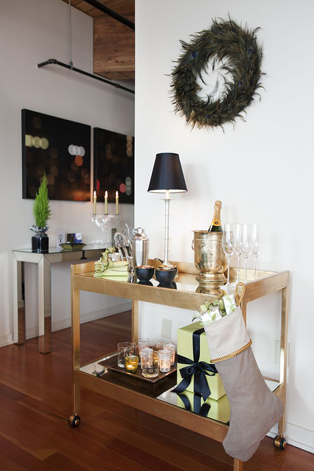 contemporary and classy christmas bar cart