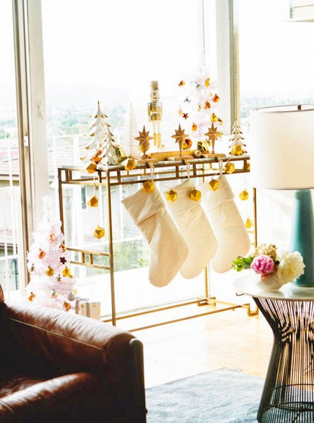 gold and white christmas bar cart