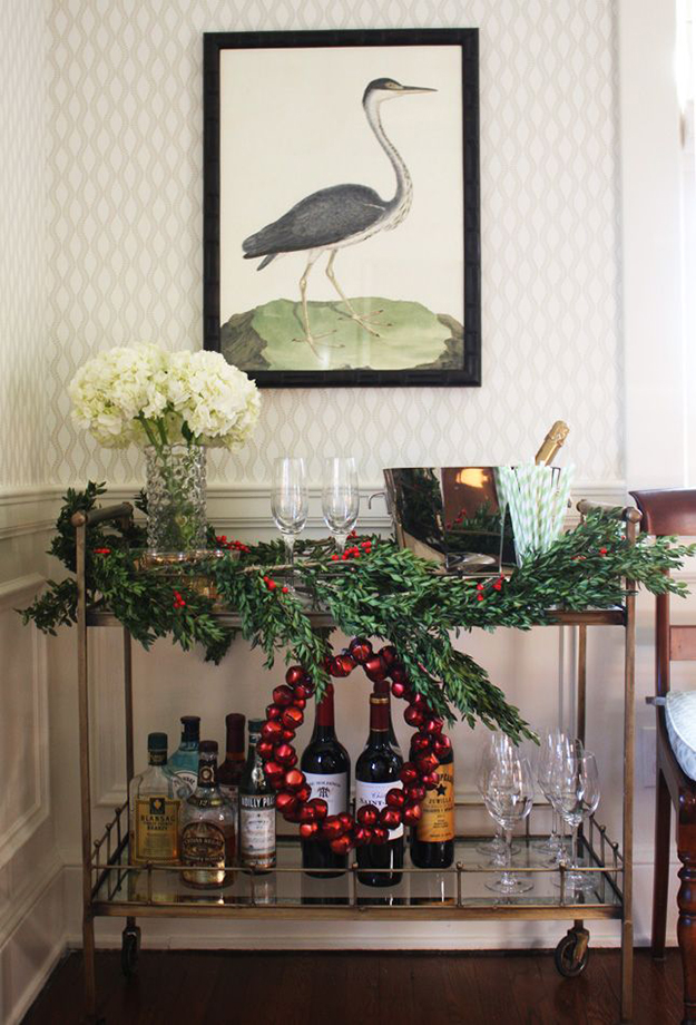 holly and wreath christmas bar cart