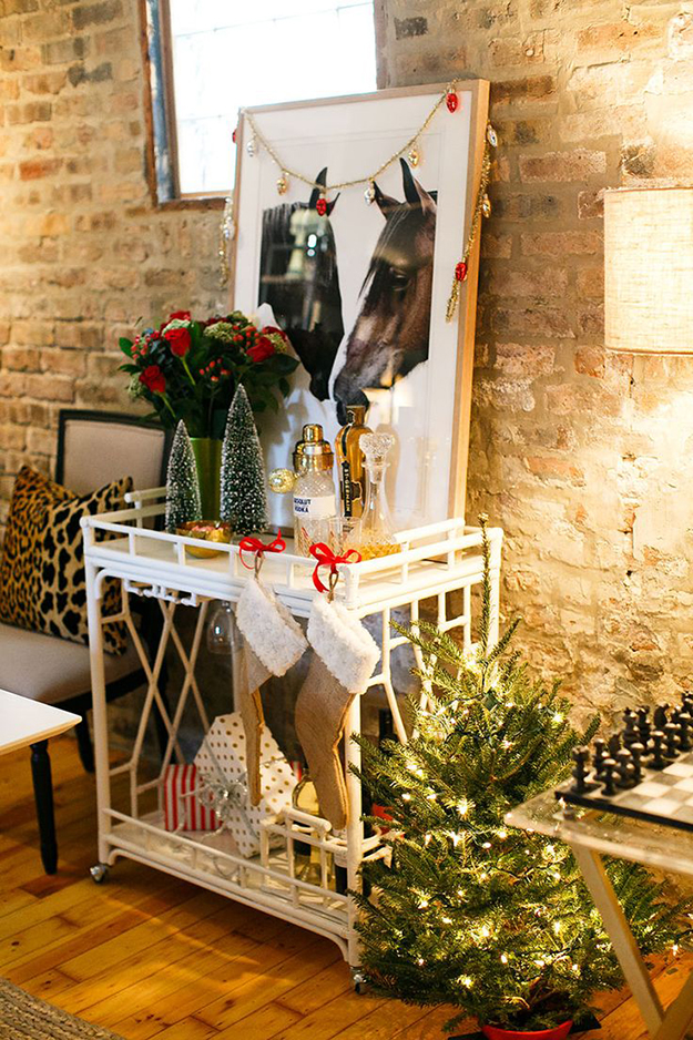 rustic glam christmas bar cart