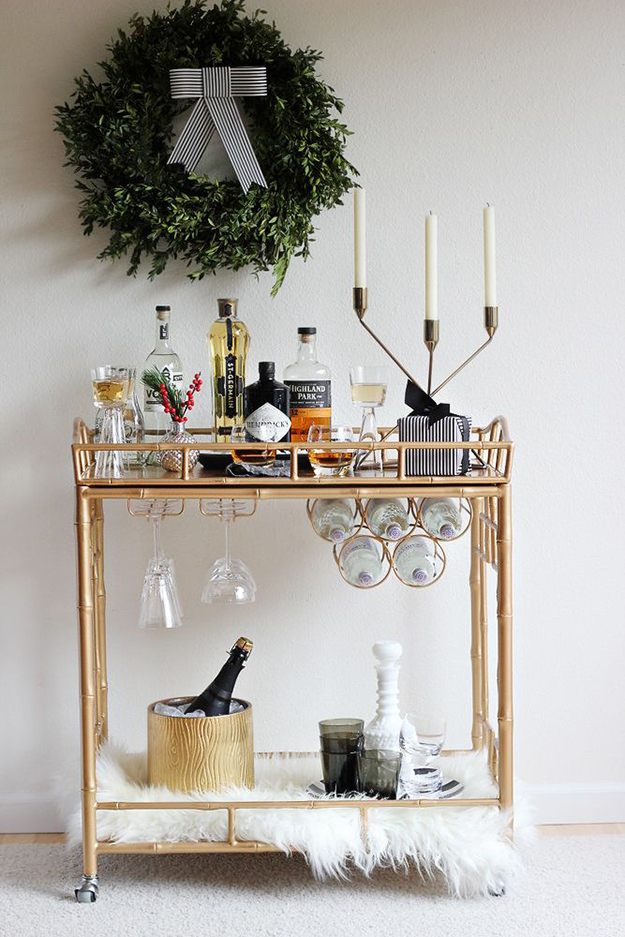 simple elegant christmas bar cart decor