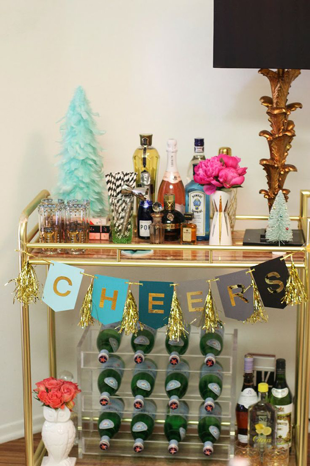 turquoise and gold Christmas bar cart