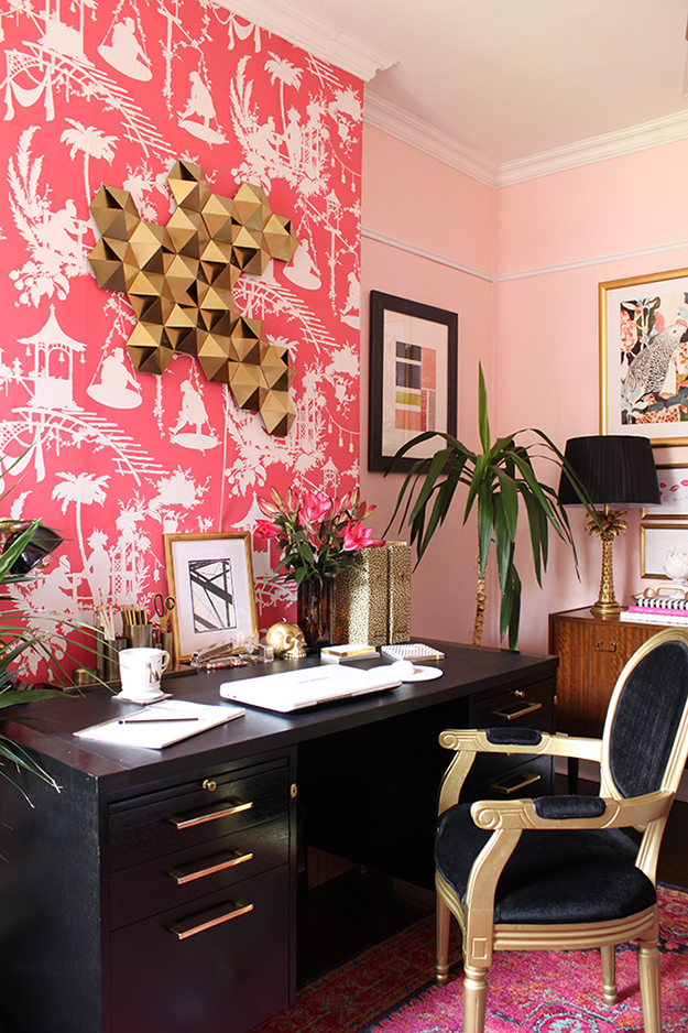 Pink black and gold home office
