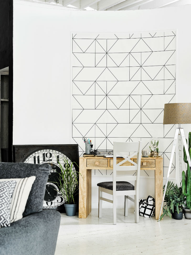 Black and white office room