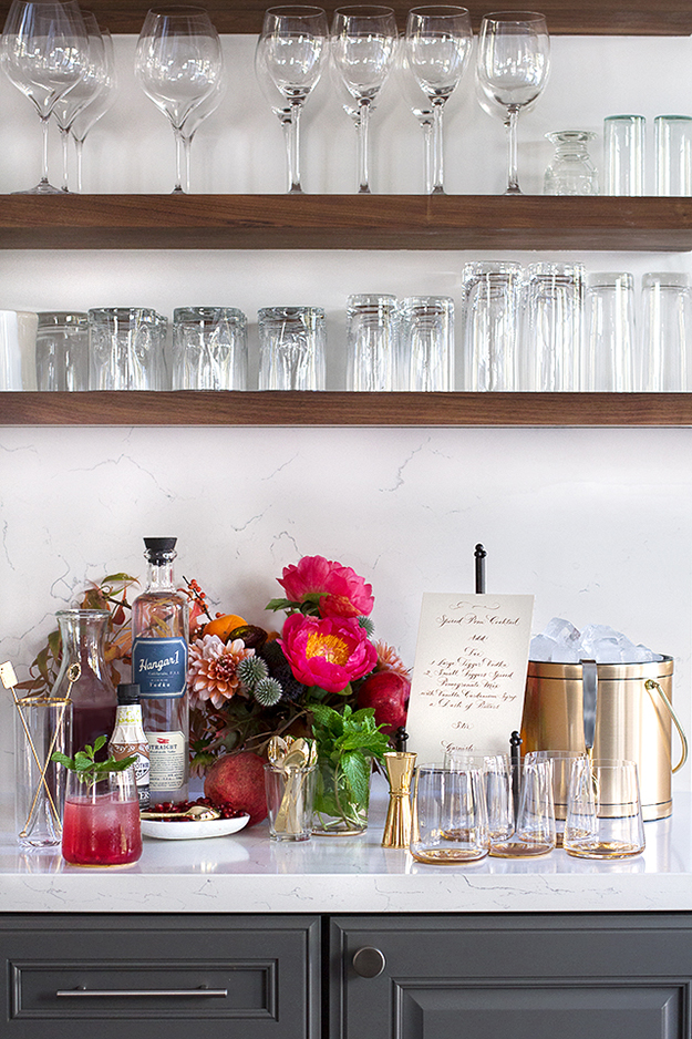 glassware and bar area