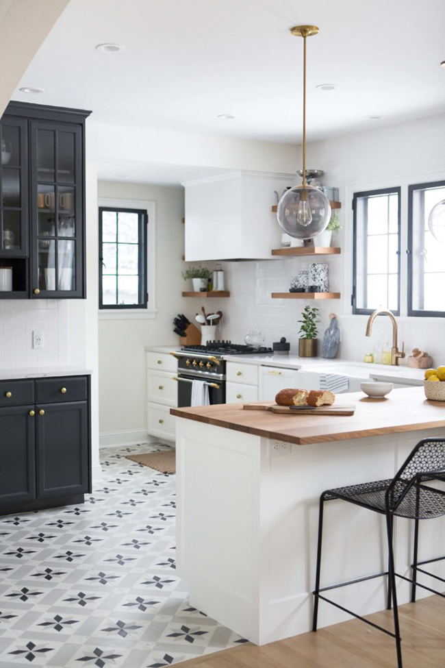 kitchen with pattern floor