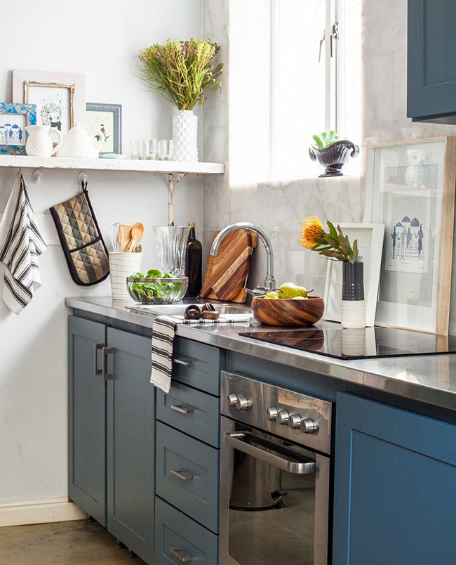kitchen with pretty textiles and wood accents