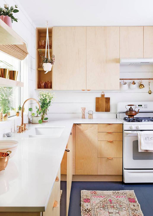 natural and white kitchen with hanging plants