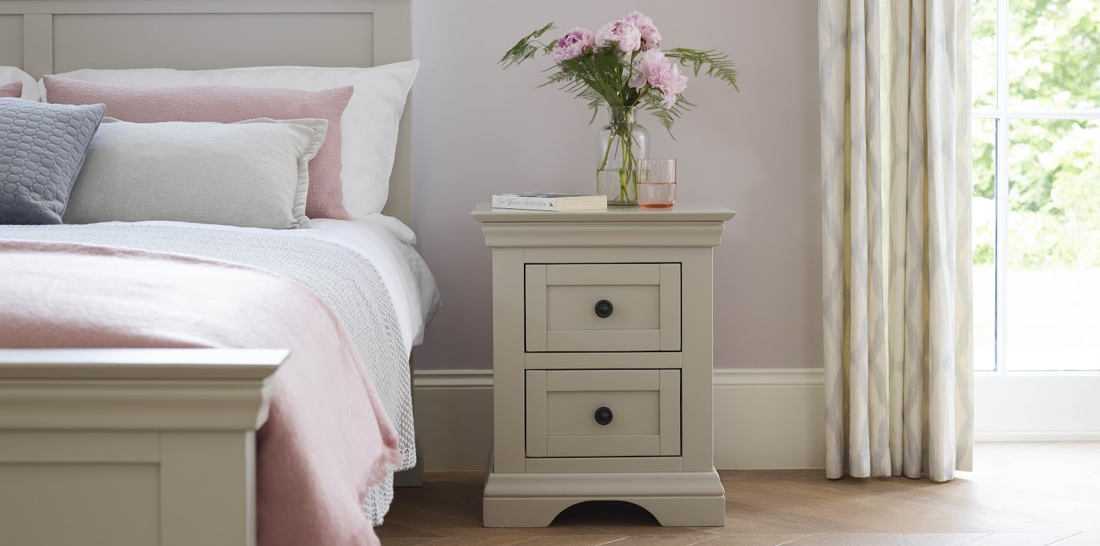 Arlette Bed & Bedside Table which pink accessories
