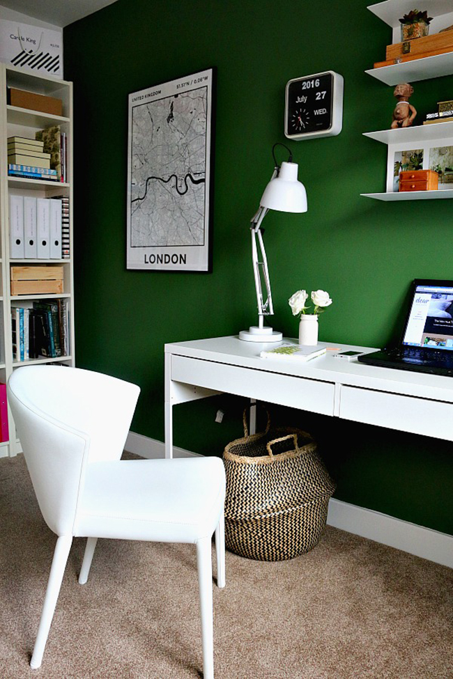 green office with london map