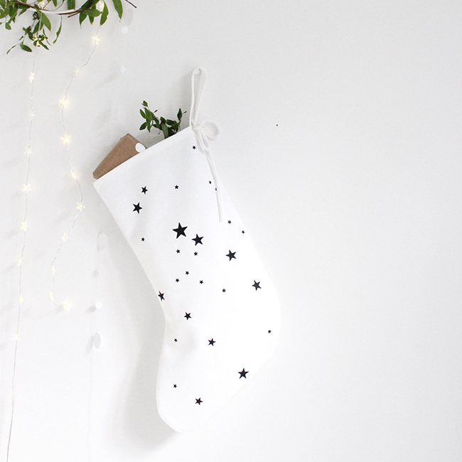 monochrome stars christmas stocking