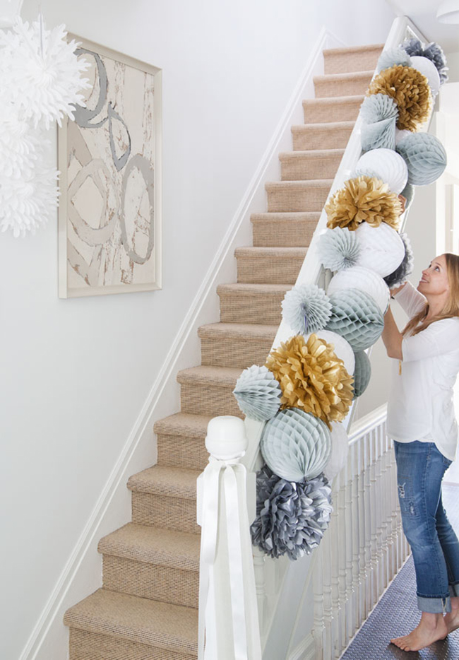 paper christmas decor staircase