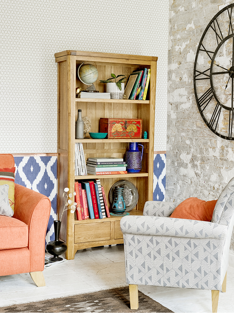 Colourful Accent Chairs and Bookcase