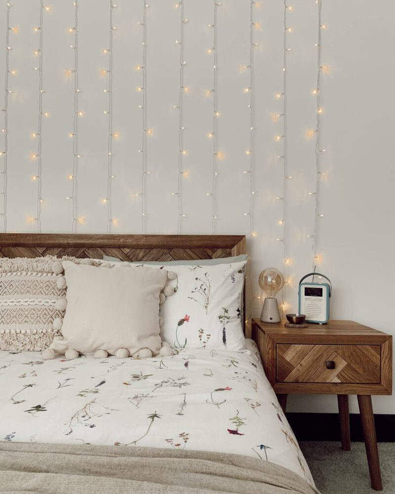 Cosy bedroom with fairy lights