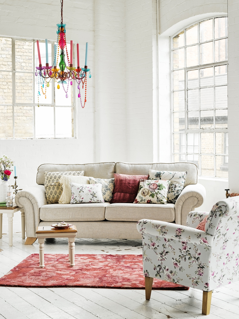 Morgan Sofa with Floral Accent Chair