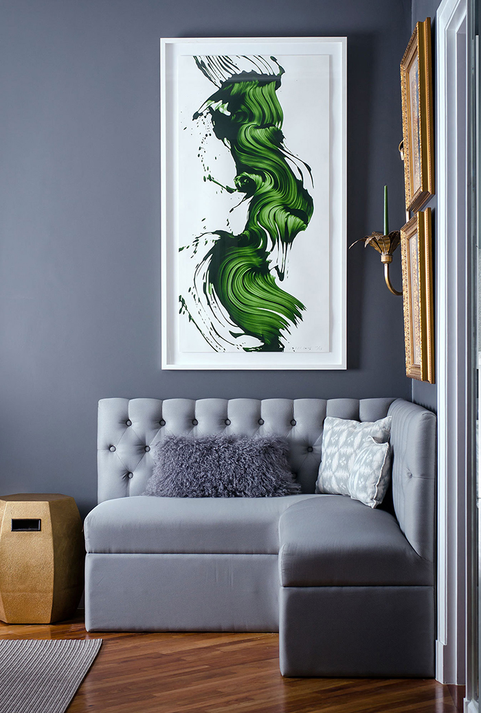 greenery artwork in grey room