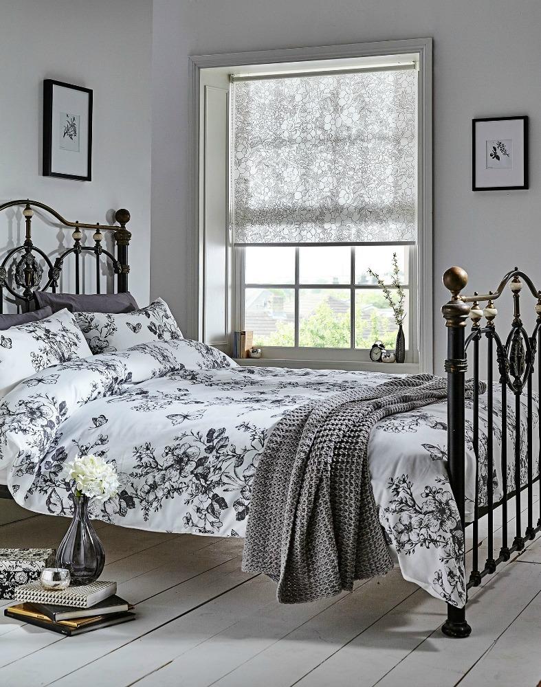 Bedroom Blinds Luxury Black & White Floral Patterned Roller Blinds