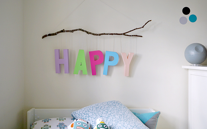 DIY Happy Hanging Wall Art by The Ordinary Lovely
