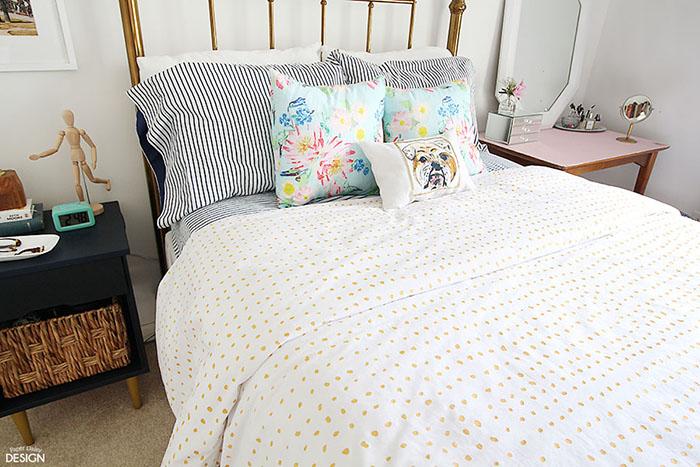 DIY Polkadot bedding by Paper Daisy Design