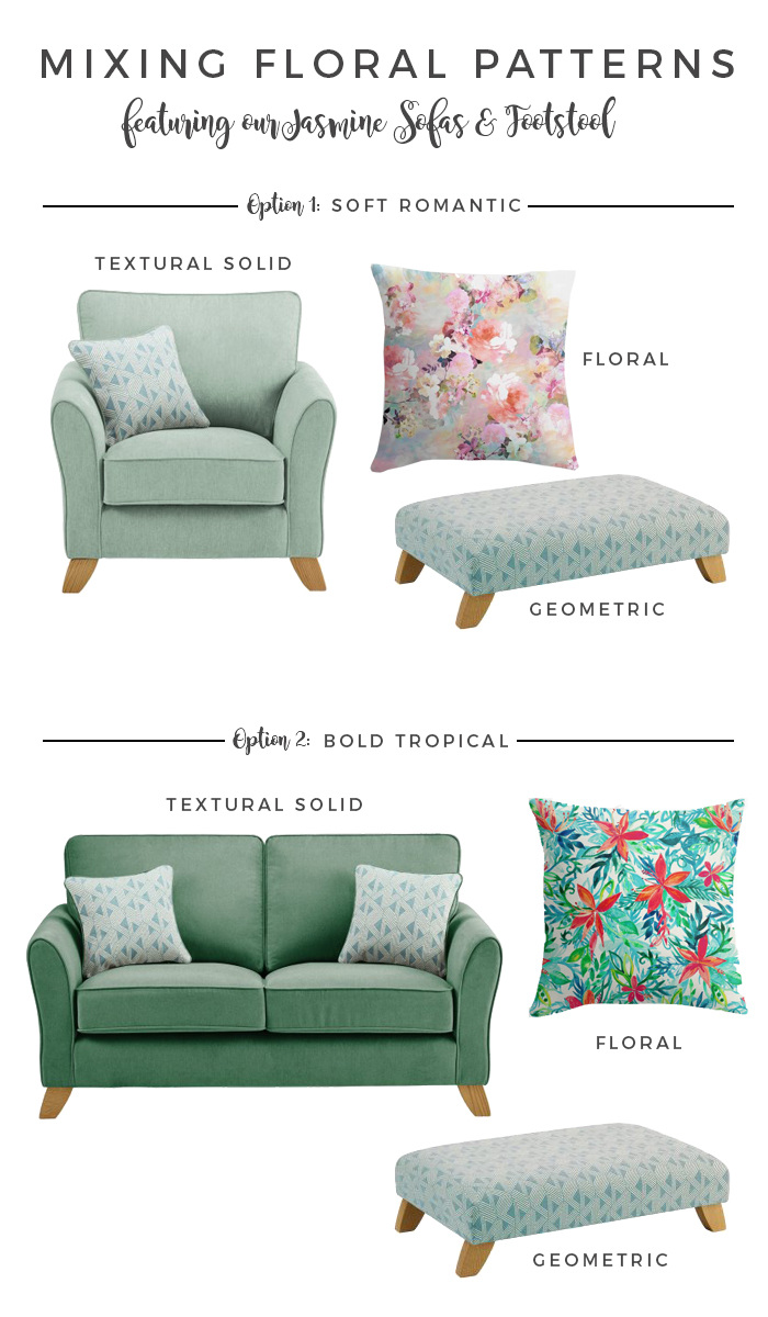 Mixing Patterns with Florals Jasmine Footstool and Sofa