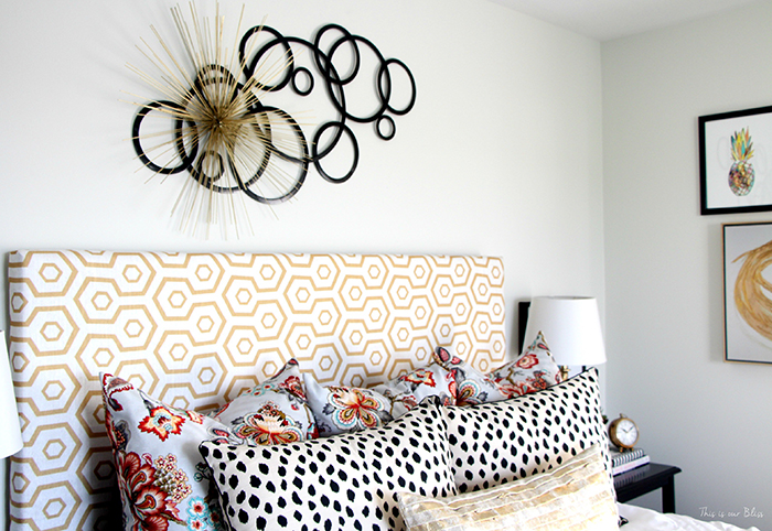 Reuphostered Headboard from Curtain Panel by This is Our Bliss