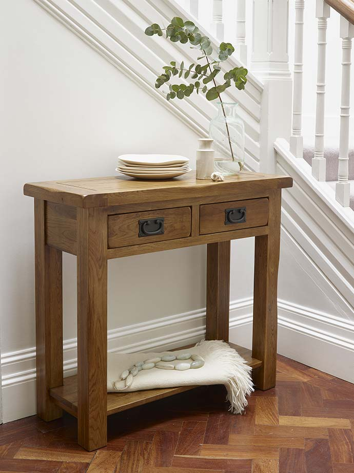 original rustic console table by oak furniture land
