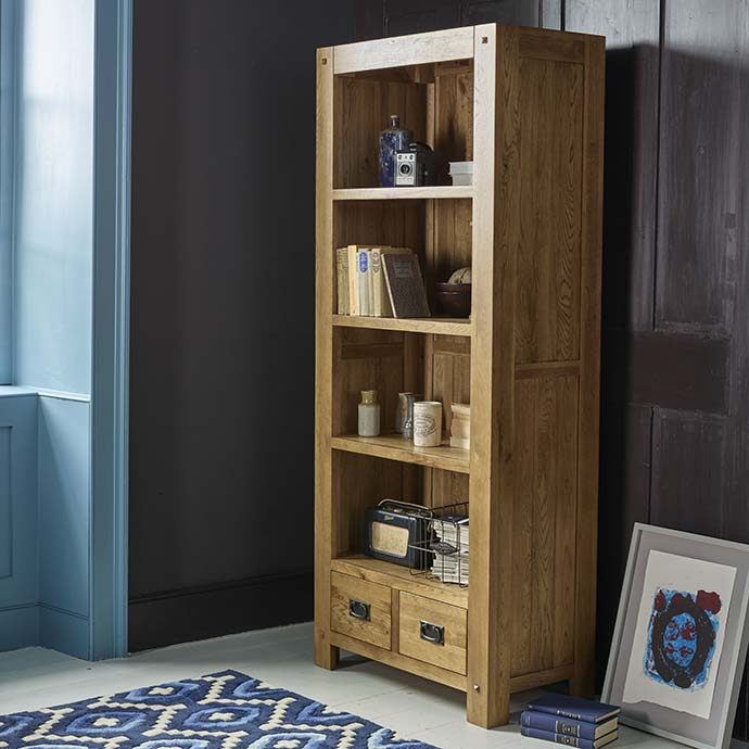 quercus solid oak bookcase by oak furniture land