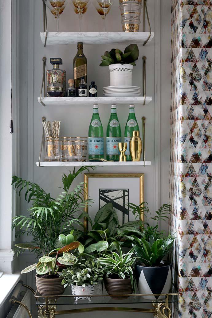 plants and bar cart