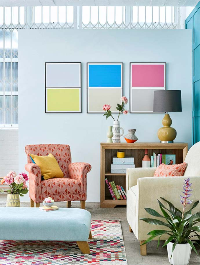 colourful living room with bevel bookcase