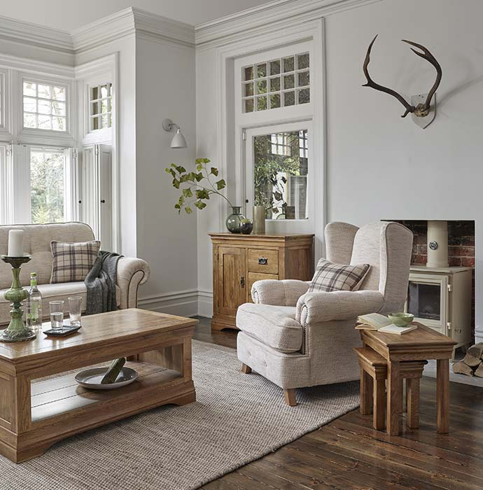 french farmhouse style living room